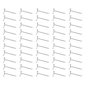 50 Pc Chrome 8 Long Gridwall Hooks Grid Panel Display Wire Metal Hanger