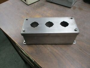 Hoffman Stainless Steel Push Button Enclosure E3pbss 3 position Type 4x Used