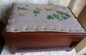 Large Vintage Wooden Sewing Box With Hinged Lid Cross Stitched Padded Seat