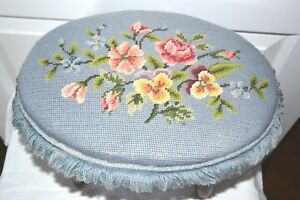 Antique 4 Spindle Leg Needlepoint Foot Stool Blue Floral Top Brown Wood Legs