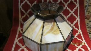 Antique Vintage Slag Glass Lamp Shade 12 Tall X 15 Wide Very Nice