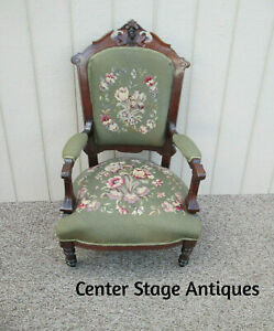 58495 Antique Victorian Armchair Chair With Needlepoint Figural