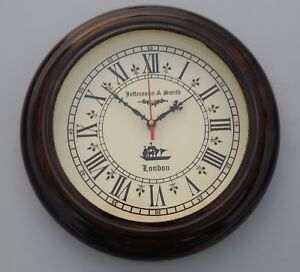 Wooden Jefferson Smith London Ship S Vintage Home Decor Wall Clock Working 10