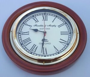 Wooden Franklin Murphy Oxford Ship S Vintage Home Decor Wall Clock Working 10