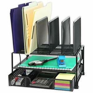 Mesh Desk Organizer Sliding Drawer Double Tray Desktop Storage Holder Office New