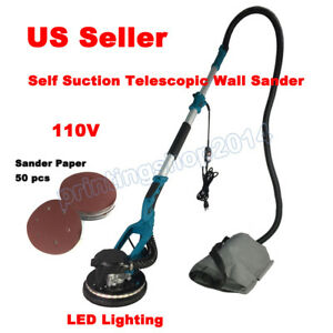 Drywall Sander Vacuum Dust Suction Telescopic Led Lighten Electric 110v Grinder