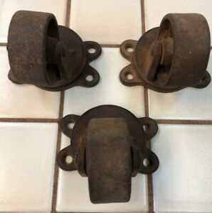 Payson 188 2 5 Three Vintage Heavy Iron Industrial Casters Furniture Wheels
