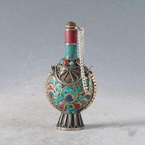 Chinese Old Antique Handmade Brass Clip Turquoise Snuff Bottle