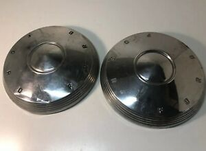 2 Vintage 1960 62 Ford Galaxie 500 Fairlane Dog Dish Poverty Hubcaps Wheel Cover