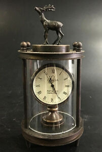 Old Chinese Bronze Dree Watch Mechanical Table Clock Decorations Statue