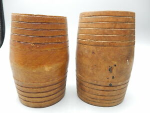 4 Vintage Whimsey Hand Carved Wooden Miniature Barrels Still Bank Size 5 Tall