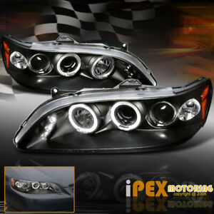 New For 98 02 Honda Accord 2 4dr Dual Halo Projector Led Headlights Black