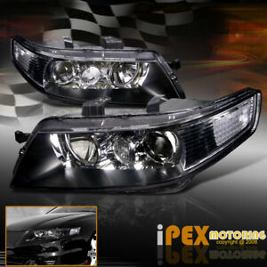 For All 2004 2005 Acura Tsx Jdm Black Projector Headlights New Headlamps