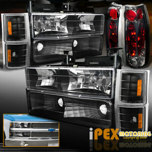 94 98 Chevy Ck Silverado Tahoe Black Headlights Smoke Tail Light Signal Lamp
