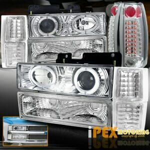 1994 1998 Chevy Silverado 10pcs Dual Halo Projector Headlight led Tail Lights