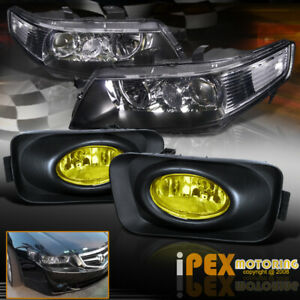 2004 2005 Acura Tsx Jdm Black Projector Headlights W Yellow Lens Fog Lights