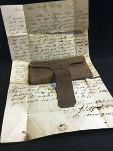 Vtg Handmade Leather Billfold Wallet With Dated Letter 1846 Ohio