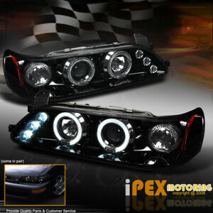 New For 1993 1997 Toyota Corolla Dual Halo Projector Led Headlights Shiny Black