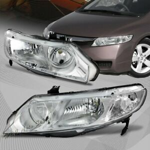 For 2006 2011 Honda Civic Chrome Housing Headlights Clear Lens W clear Reflector