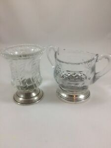 Antique Sterling Silver Base Pressed Glass Toothpick Holder And Sugar Bowl