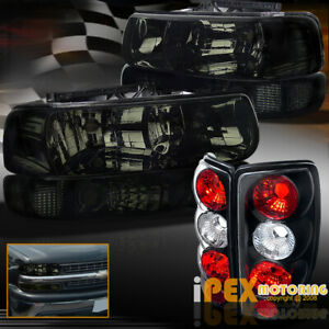 Shiny Smoke 2000 2006 Chevy Suburban Tahoe Headlights Signals Black Tail Light