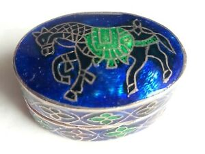 Vintage 925 Sterling Silver Cloisonne Guilloche Enamel Indian Horse Pill Box