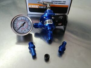 Universal Epman Blue Adjustable Fuel Pressure Regulator With Liquid Fuel Gauge