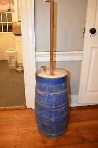 Very Early Original Blue Paint Antique Butter Churn Lid And Dasher
