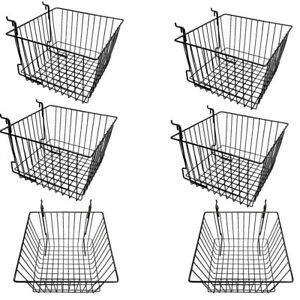 Set Of 6 Pieces Black Metal Wire Slatwall Gridwall Pegboard Deep Basket Rack