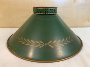 Vintage Metal Tole Table Lamp Shade Green Gold Mid Century Bouillotte Retro