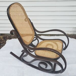 Vintage Bentwood And Wicker Cane Rocking Chair Mid Century Modern Local Pickup