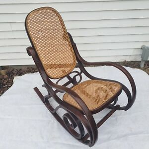 Vintage Bentwood Wicker Cane Rocking Chair Mid Century Modern Local Pickup