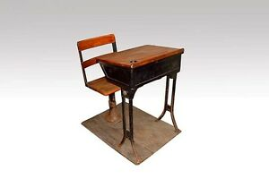 Antique Cast Iron Wood School Desk Pencil Tray Ink Well