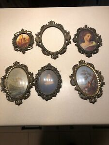 Lot Of Six 6 Vintage Metal Oval Picture Frame Bubble Glass Made In Italy Antique