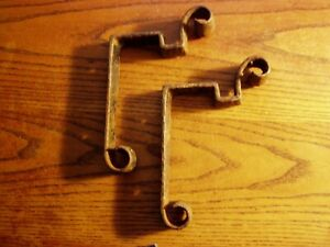 2 Vtg Hand Forged Iron Brackets