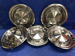 Vintage Set Of 5 1962 63 Lincoln 14 Hubcaps Continental Good Condition