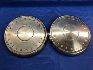 Vintage Pair Of 1967 Oldsmobile Toronado Dog Dish Hubcaps Good Condition