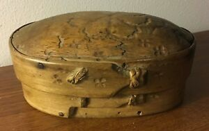 Small Antique Golden Brown Bentwood Oval Lidded Pantry Box With Square Nails
