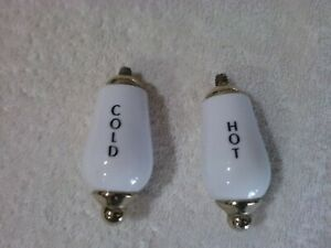 Antique Vintage Hot And Cold Faucet Handles Porcelain