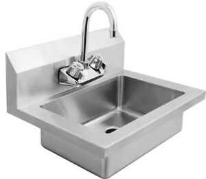 New Wide Wall Mount Hand Sink Stainless Steel W Faucet 18 W X 14 5 D