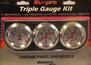 Sunpro 2 Mechanical Triple Gauge Kit White Chrome Bezel Rare Cp7999os New
