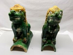Antique Chinese Foo Dog Roof Tile Pair Ceramic Porcelain Sancai Glaze Vtg Finial