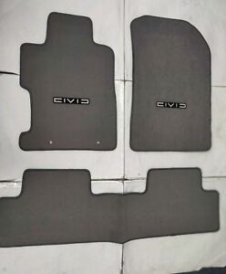 For 06 11 Honda Civic 2 4dr Floor Mat Carpets Gray Nylon W Emblem