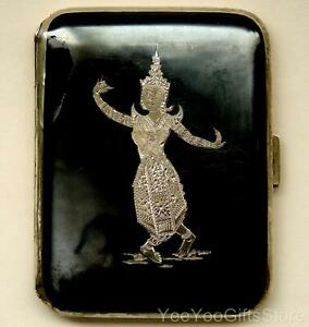 Old Siam Sterling Silver Niello Temple Dancers Cigarette Business Card Case Box
