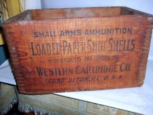 Vintage Western Cartridge Co. 12 Gauge Ammunition Box With Dove Tailed Corners