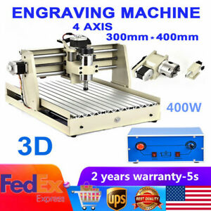 4 Axis 3040 400w Spindle Motor Engraver Router Engraving Machine 3d Milling