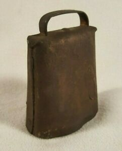 Small Primitive Antique Iron Cow Bell Deep Tone Hand Forged Rivets Sheep Goat
