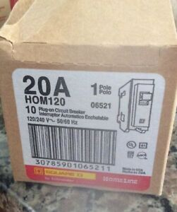 Homeline Square D Hom120 Circuit Breakers 1 Pole case Of 10