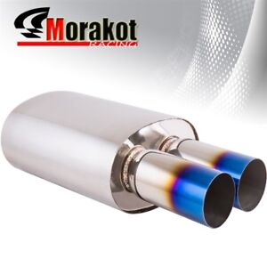 Universal Muffler W 3 Straight Dual Burned Tip 3 Inlet Stainless Steel