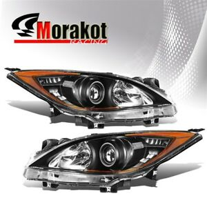 For 10 13 Mazda 3 Halo Projector Replacement Black Headlights Amber Reflector
